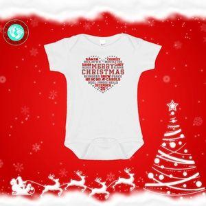 Christmas Heart Onesie- Merry Christmas Sayings